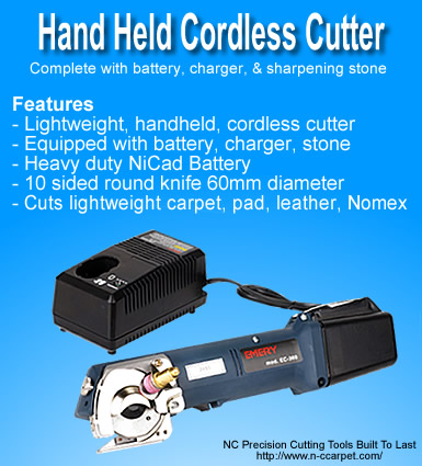 Cordless Hand Held Carpet, Leather, & Pad Cutter